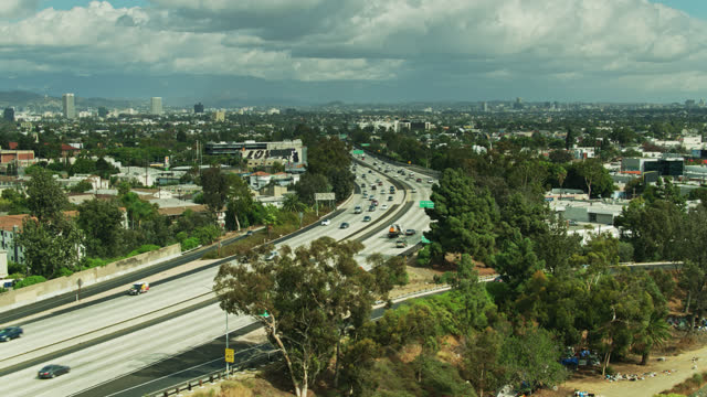 drone shot of i-10 between los angeles and culver city - interstate 10 stock videos & royalty-free footage