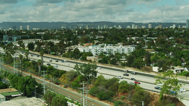 drone shot of i-10 on westside of la - interstate 10 stock videos & royalty-free footage
