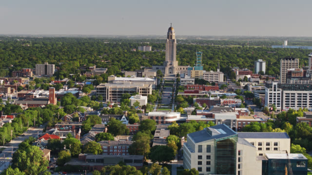 drone shot of lincoln, nebraska - nebraska stock videos & royalty-free footage
