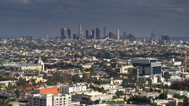 Drone Shot of Los Angeles from Over Hollywood