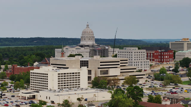 drone shot of missouri state capitol and downtown jefferson city - missouri stock videos & royalty-free footage