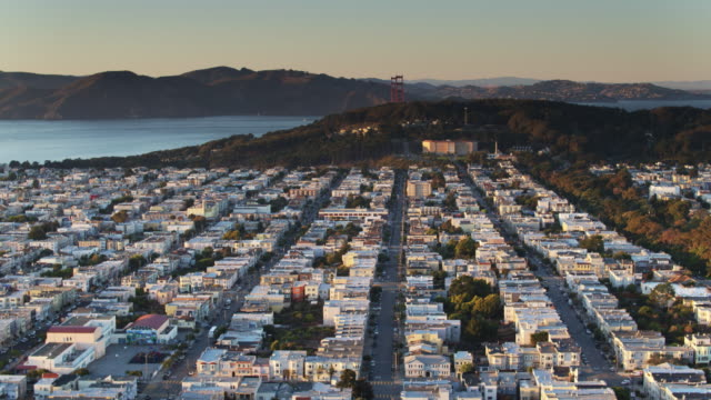 drone shot of northwest san francisco from golden gate park to the golden gate bridge - haight ashbury stock videos & royalty-free footage