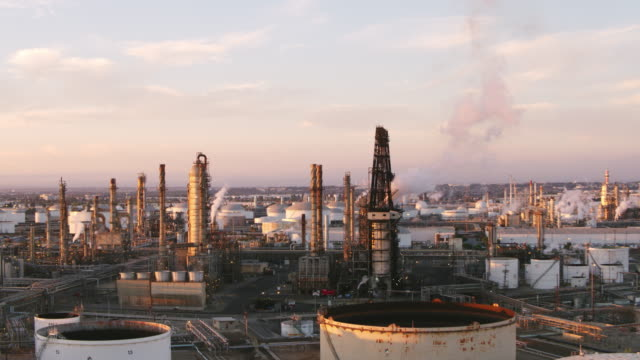 drone shot of oil refinery - port of los angeles stock videos & royalty-free footage