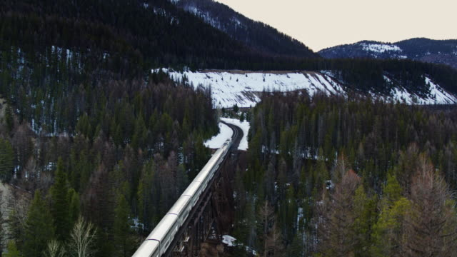 drone shot of passenger train crossing flathead river near glacier np - locomotive stock videos & royalty-free footage