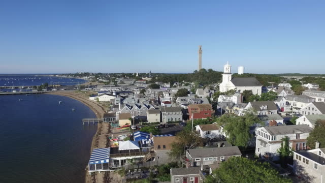 drone shot of provincetown cape cod - massachusetts stock-videos und b-roll-filmmaterial