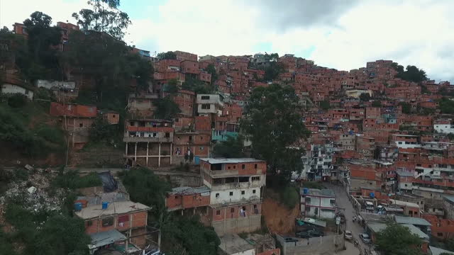 Drone shot of ranchos in a barrio neighbourhood on May 25 2016 in Caracas Venezuela