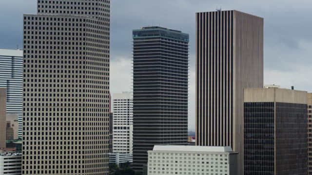 drone shot of skyscrapers in houston - ominous stock videos & royalty-free footage