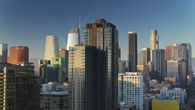 drone shot of south park and the downtown la financial district - twilight stock videos & royalty-free footage