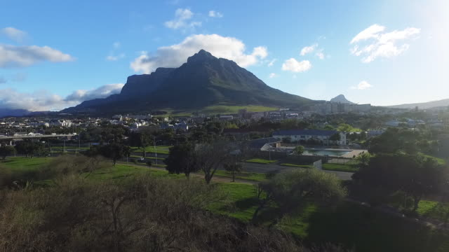Drone shot of Table Mountain and Cape Town, South africa