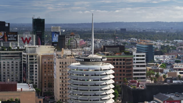 Drone Shot of the Capitol Records Building and Hollyowod