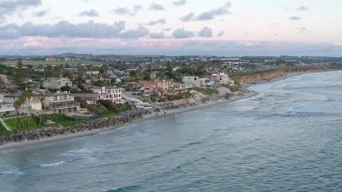 drone shot of the coast of carlsbad, california - carlsbad california stock videos & royalty-free footage