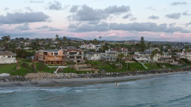 drone shot of the coast of carlsbad, california - carlsbad california stock videos & royalty-free footage