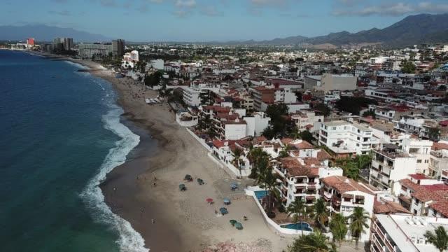 drone shot of the coastline of puerto vallarta mexico - coastline stock videos & royalty-free footage