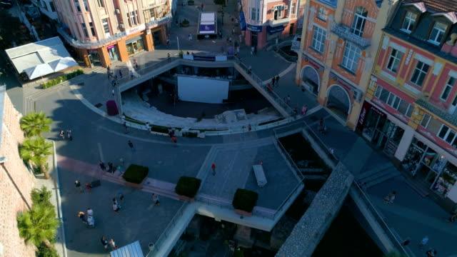 Drone schot van het downtown district van de stad van Plovdiv in Bulgarije