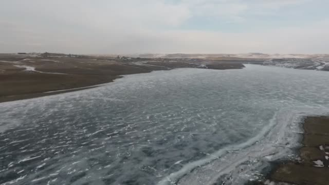 drone shot of the frozen kars dam in turkey's eastern kars province on march 02 2020 - kars stock videos & royalty-free footage