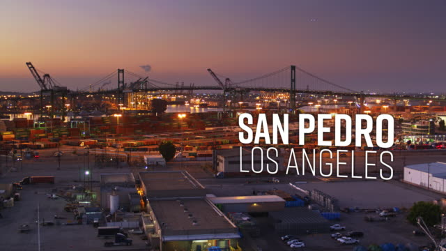 "drone shot of the port of los angeles with floating text: ""san pedro, los angeles"" - port of los angeles stock videos & royalty-free footage"