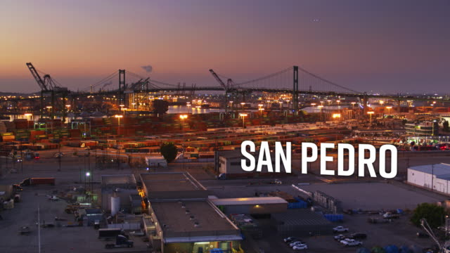 "drone shot of the port of los angeles with floating text: ""san pedro"" - port of los angeles stock videos & royalty-free footage"
