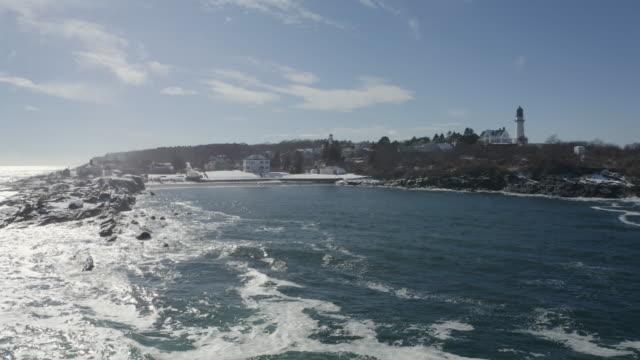 drone shot of the rocky coastline of cape elizabeth - north atlantic ocean stock videos & royalty-free footage