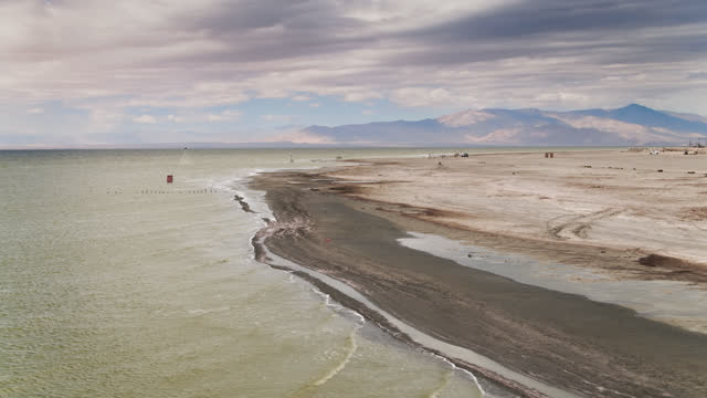 drone shot of the salton sea - establishing shot stock videos & royalty-free footage
