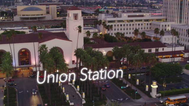 drone shot of the train station in los angeles, california with floating text - union station los angeles stock videos & royalty-free footage