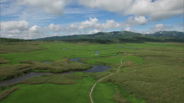 Drone shot of the Uryu-numa Wetlands