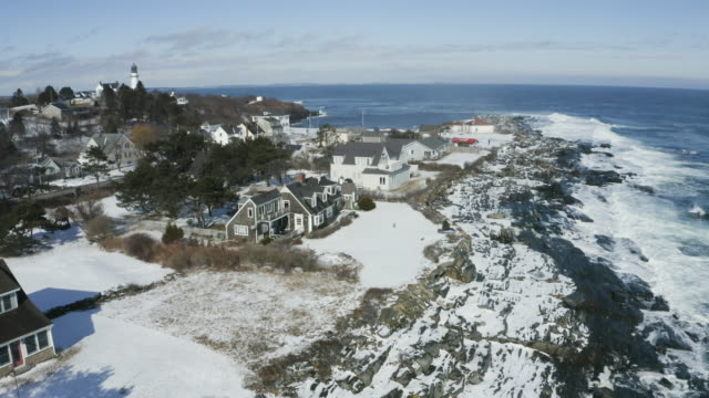 drone shot of the waterfront houses in cape elizabeth - north atlantic ocean stock videos & royalty-free footage