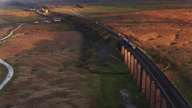 Drone Shot of Train on Ribblehead Viaduct