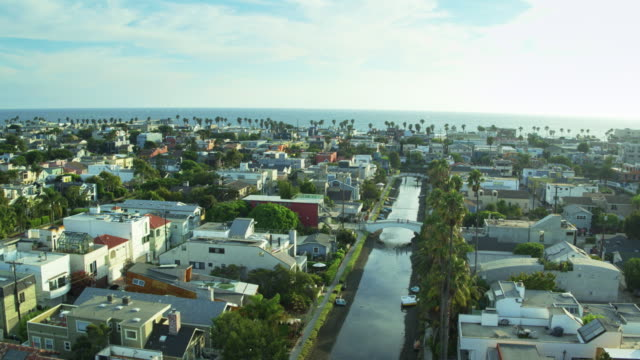drone shot of venice, california - canal stock videos & royalty-free footage