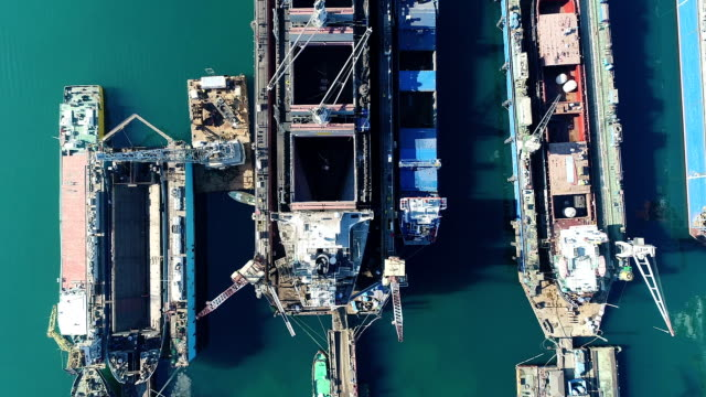 Drone Shot of Vessel at Dock top view