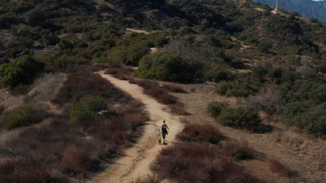 stockvideo's en b-roll-footage met drone shot van vrouw die haar hond op de sporen van la canada loopt - jogster