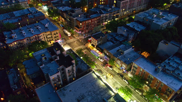 drone shot orbiting around intersection of prospect pl and nostrand ave in brooklyn - brooklyn new york stock videos & royalty-free footage