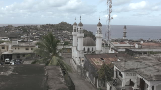 Drone shot over a small mosque in the city of Domoni on the island of Aunjouan.
