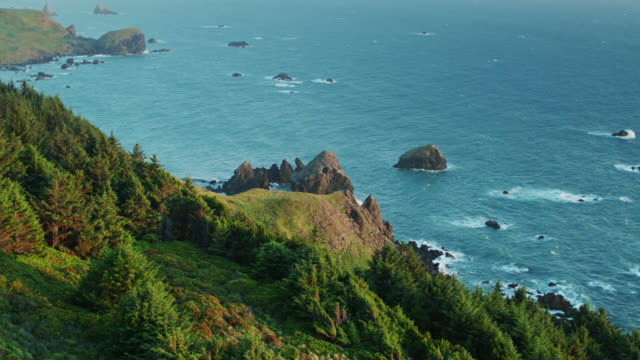drone shot over hillside revealing stack rocks off the oregon coast - oregon coast stock videos & royalty-free footage
