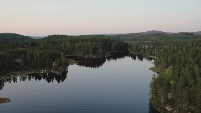 drone shot over norwegian fjord - cottage stock videos and b-roll footage