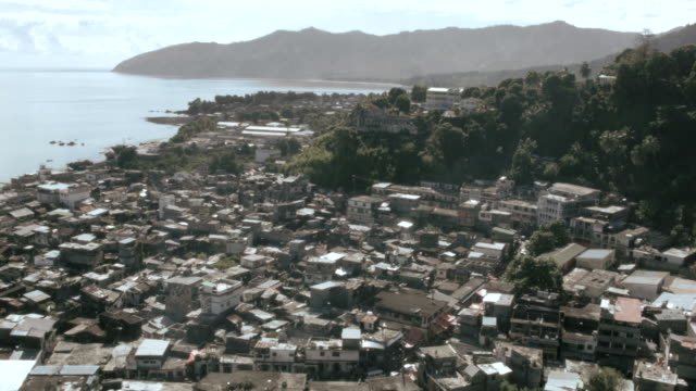 Drone shot over the city of Domoni on the island of Anjouan.