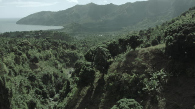 Drone shot over the verdant countryside of Anjouan.