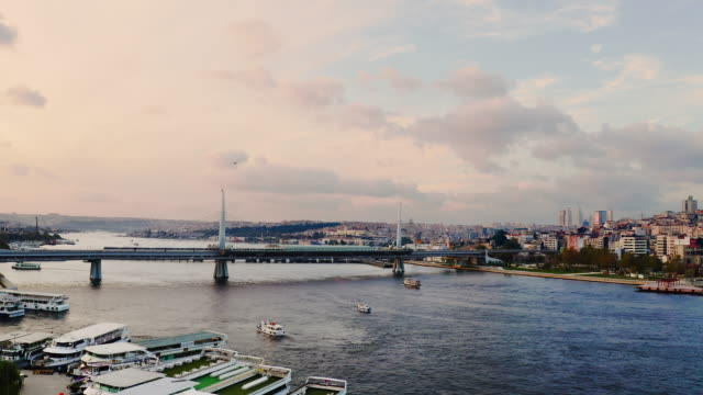 drone shot: real time ,4k aerial view of istanbul at sunrise, turkey. - bridge built structure stock videos & royalty-free footage