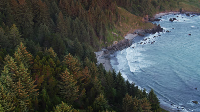 drone shot revealing narrow, rocky beach on oregon coast - oregon coast stock videos & royalty-free footage