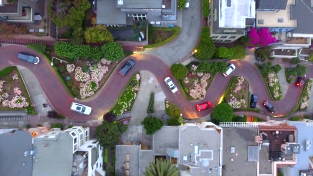 drone shot, straight down, of lombard street, san francisco, california, usa - winding road stock videos & royalty-free footage