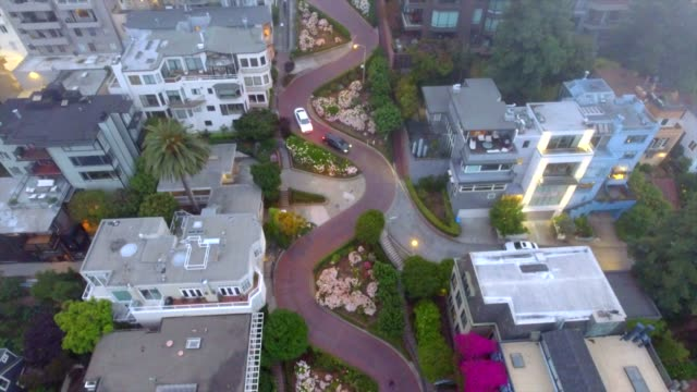 drone shot, straight down, of lombard street, san francisco, california, usa - lombard street san francisco stock videos & royalty-free footage