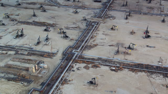 Drone Shot with Downward Tilt of South Belridge Oil Field in Kern County, California