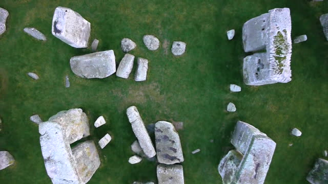 Drone shot zooming out over the stone circle of Stonehenge.