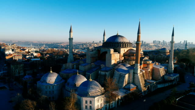 drone shots of hagia sophia and hagia eirene at sunrise in istanbul - ottoman stock videos and b-roll footage
