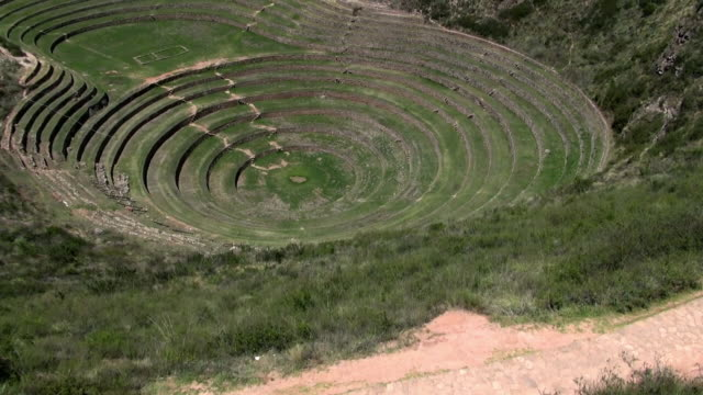 drone shots of inca site moray, peru - concentric stock videos & royalty-free footage