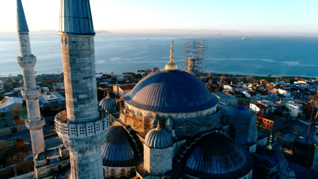 Drone Shots of Sultanahmet Blue Mosque at Sunrise in Istanbul