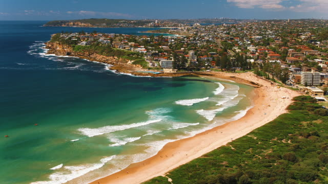 drone shots of sydney northern beaches and coastline - sydney stock videos & royalty-free footage