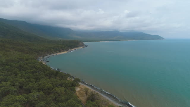 drone shots of the coastline between cairns and port douglas in far north queensland - coastal feature stock videos & royalty-free footage