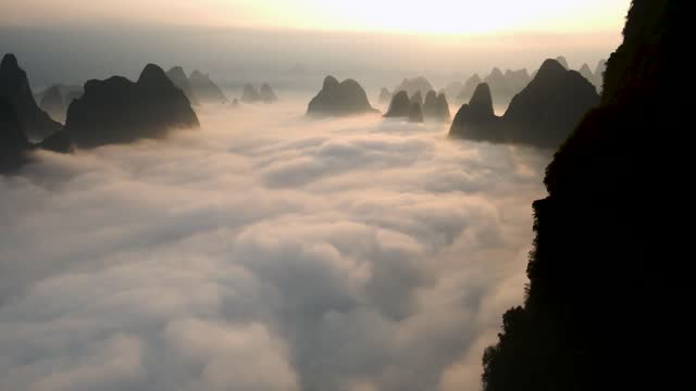 drone time lapse video of clouds over the lijiang river in guilin, south china's guangxi zhuang autonomous region. footage by: costfoto / barcroft... - elevated view stock videos & royalty-free footage