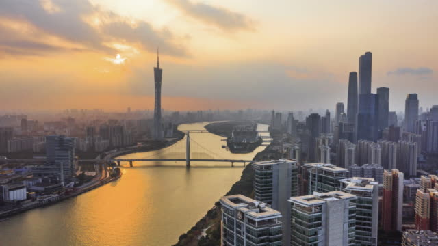 4k drone timelapse footage : guangzhou skyline at sunset - guangzhou stock videos & royalty-free footage