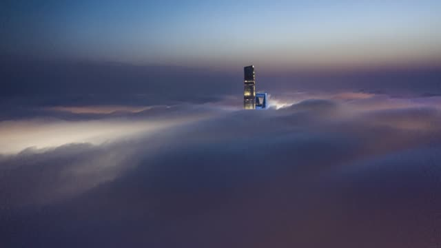 4k drone time-lapse footage : shanghai financial district in fog - 世界的な名所点の映像素材/bロール